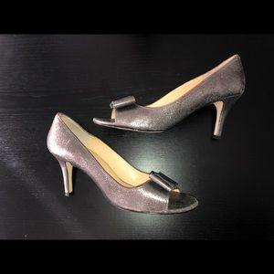 Kate Spade glittery silver open toe heel shoes